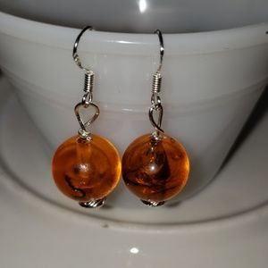 Jewelry - Sterling silver vintage Dominican Amber earrings